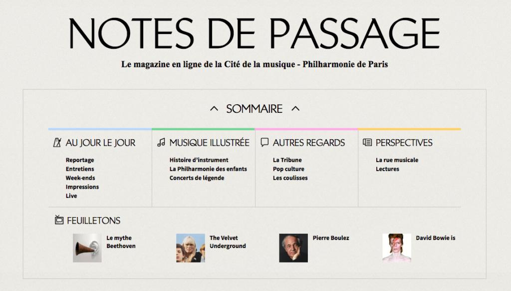 """Webzine """"Notes de passage"""""""